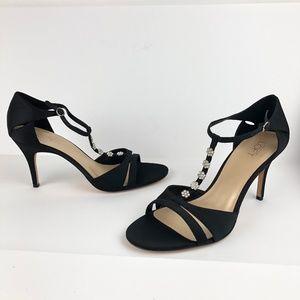 Loft 10 Daisy Embellished T-Strap Dress Heel Black